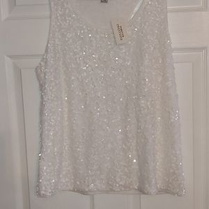 Sequins White Tank Top by Forever 21
